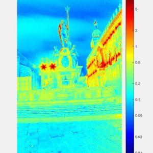 Distribuzione della Luminanza in scala logaritmica della fontana (direzione di vista verso via Rizzoli).