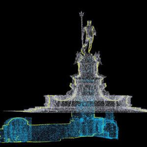 La nuvola di punti del cunicolo sotterraneo inserita nel sistema di riferimento della fontana.