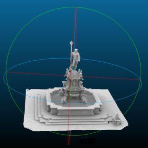 Il modello 3D realizzato da DICAM sull'intero complesso a supporto della progettazione del ponteggio.