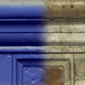 Un dettaglio (30x30 cm) del modello 3D del basamento, colorato in modo artificiale e con i colori naturali.