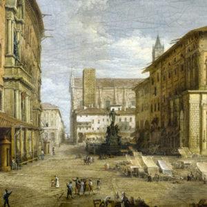 Antonio Basoli, La Piazza del Nettuno, particolare (Collezione Privata).