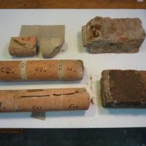 Cilindri di diverso diametro ottenuti per le indagini dalla carota C2.
