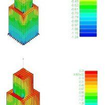 Analisi agli elementi finiti sul modello del Castellum: prova dello stato tensionale conseguente ai carichi verticali (in alto) e distribuzione delle tensioni con la combinazione di carico sismico (in basso)